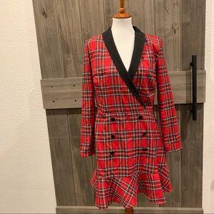 ASOS Red Plaid Blazer Dress NWOT